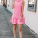 Karlie Cut Out Neck Ruffle Bottom Dress