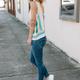 Karlie Stripe Multi Tie Shoulder Tank