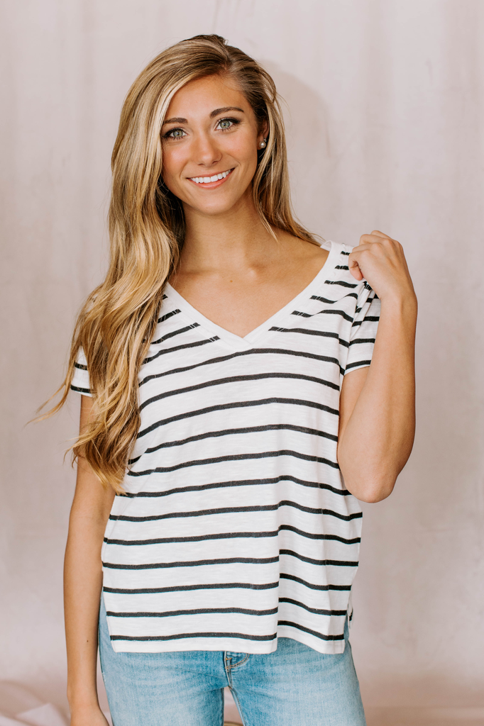 Z Supply The Desert Stripe V-Neck Tee