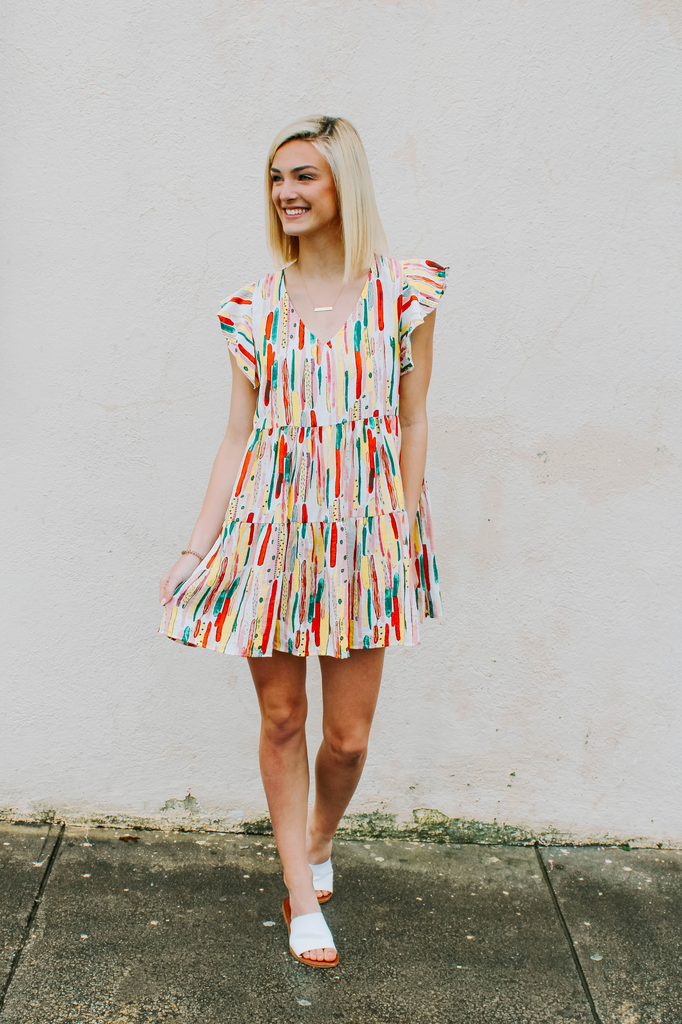 Ces Femme Abstract Print Babydoll Dress