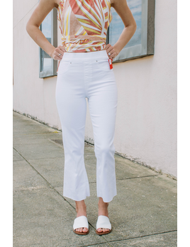 White Cropped Flare Jeans