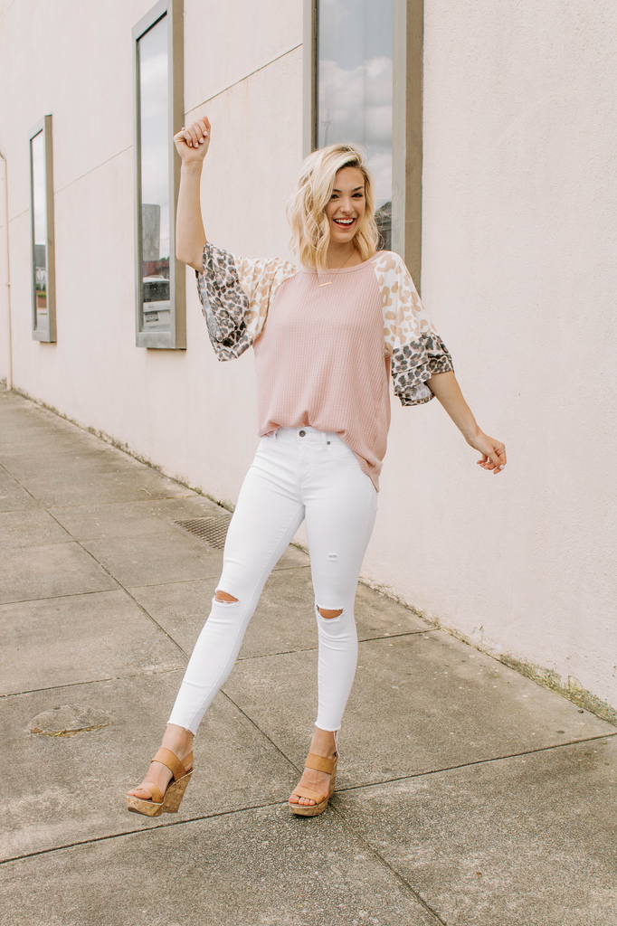Waffle Knit Top with Leopard Sleeves