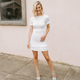 Karlie Solid Smock Puff Sleeve Dress