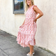Abstract Tie Dye Tier  High Low Dress