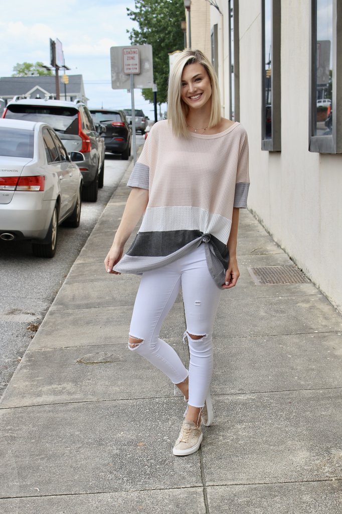 Thermal Waffle Color Block Poncho Top
