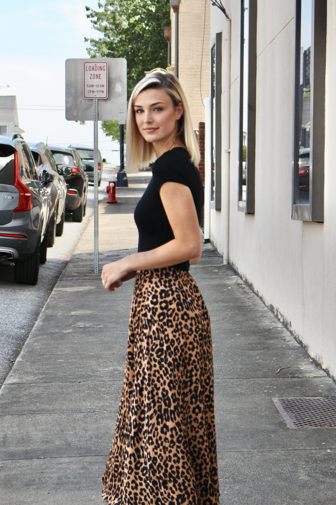 She & Sky Pleated Leopard Print Satin Midi Skirt