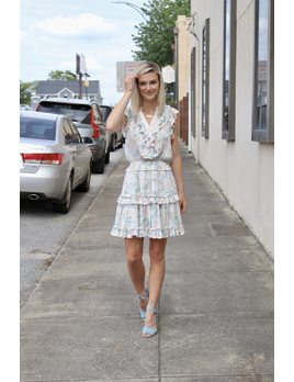 Karlie Pastel Abstract Floral Mock Waist Dress