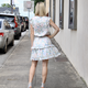 Karlie Pastel Abstract Floral Mock Waist Dress