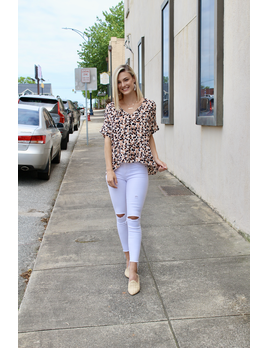 Karlie Leopard Camo V-Neck Top