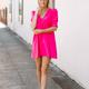 Karlie Solid V-Neck Puff Sleeve Dress