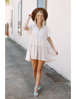 Karlie Solid Gauze V-Neck Boho Dress