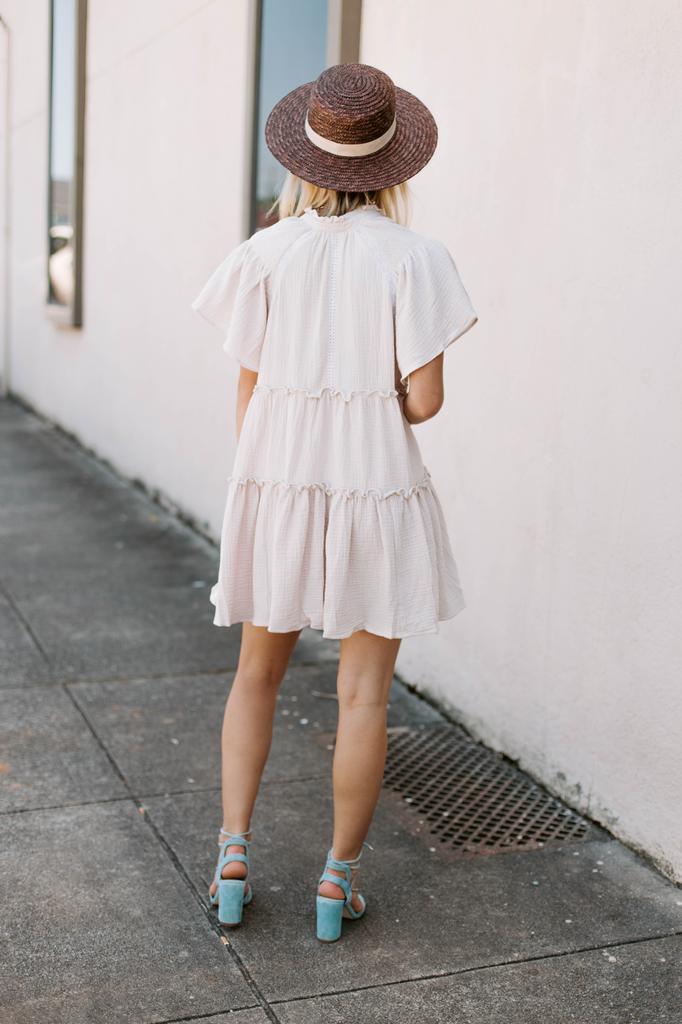 Karlie Solid Gauze V-Neck Boho Dress