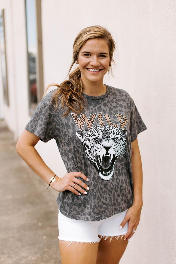 Wild Tiger Leopard Print Graphic Tee