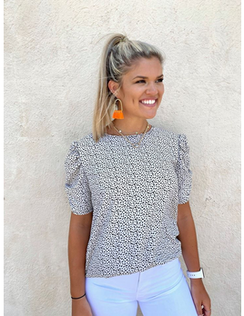 Printed Moroccan Bubble Sleeve Top