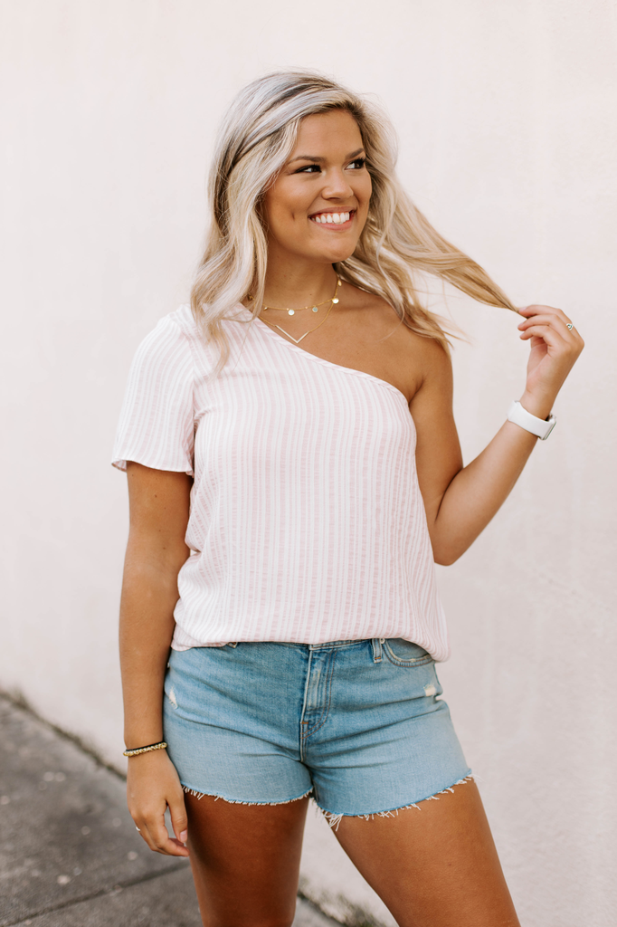 Karlie Stripe One Shoulder Top