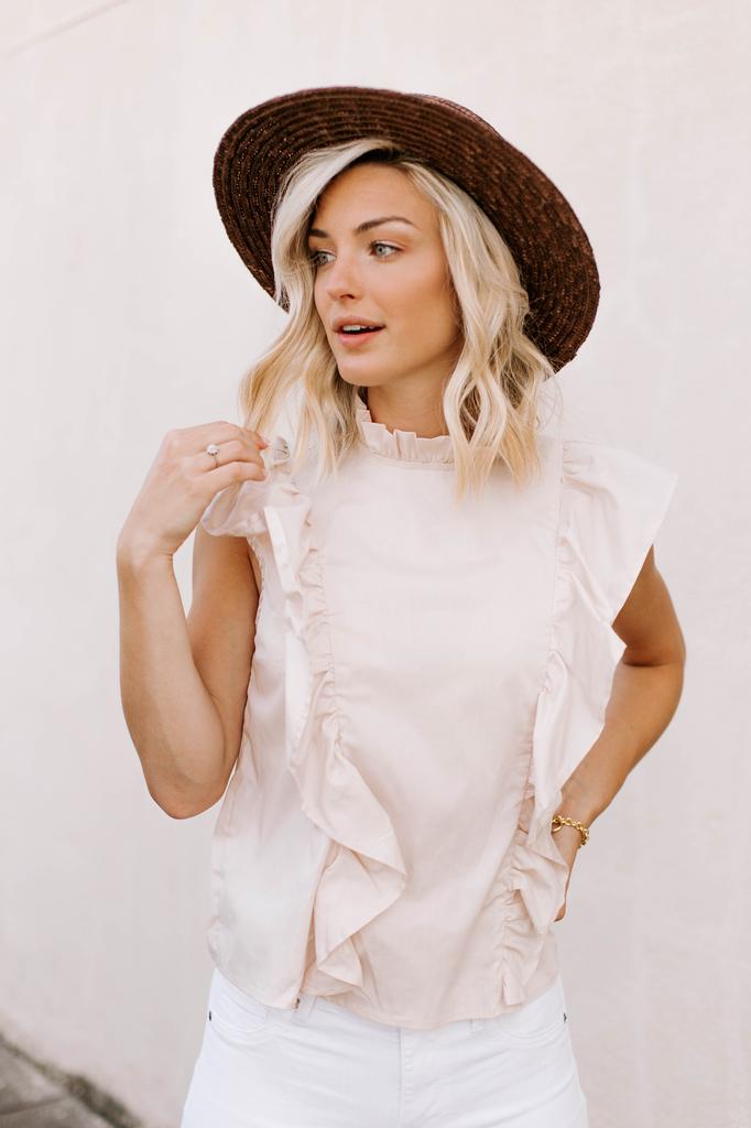 Karlie Solid Poplin Ruffle Sleeve Top