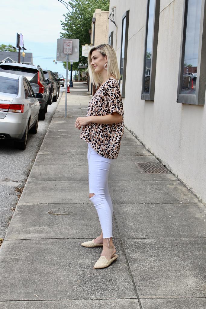 Karlie Leopard Camo V-Neck Top