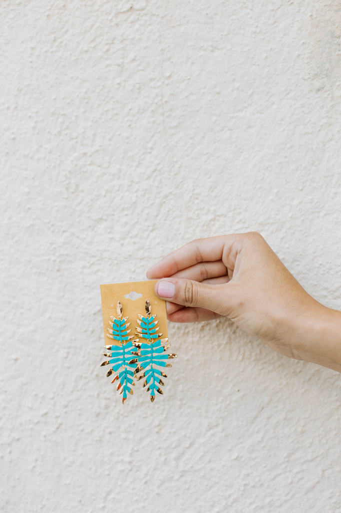 Painted Fern Leaf Earrings