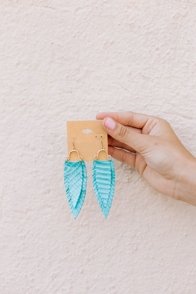 Layer Feather Leather Earrings