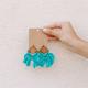 Wood and Crochet Rhombus Earrings