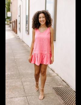 Solid Linen Cami Ruffle Bottom Dress