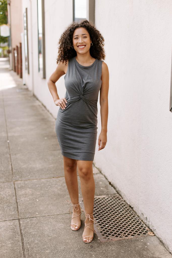 Karlie Burn-Out Solid Twist Front Dress
