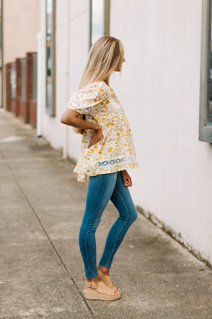 Floral Printed Embroidered Blouse
