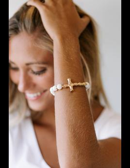 Metal Bamboo Cross Wood Bracelet