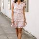 Karlie Leopard Abstract Ruffle Smock Waist Dress