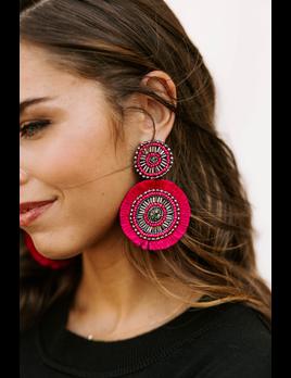 Beaded Circle Fan Earrings