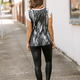 Tie Dye Print Terry Top with Contrast Ruffle