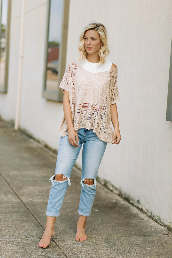 Light Knit See Through Eyelet Top