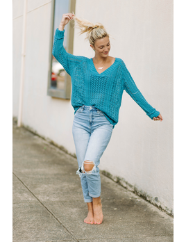 V-Neck Raglan Cable Knit Sweater