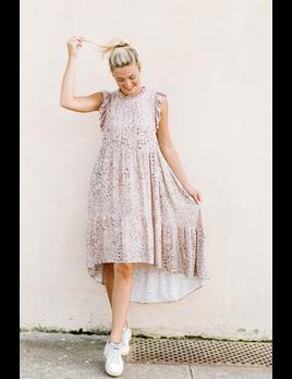 Karlie Leopard Ruffle High Low Dress