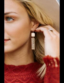 Bead Wrapped Rectangle Earrings