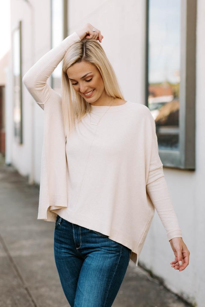 Karlie Solid Novelty Crew Sweater