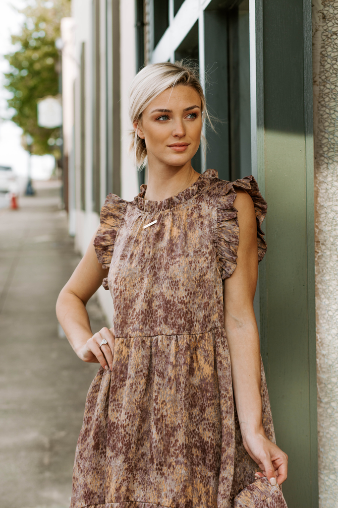 Karlie Geometric Satin Dot High Low Midi Dress