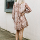 Karlie Snake Chiffon V-Neck Ruffle Tier Dress