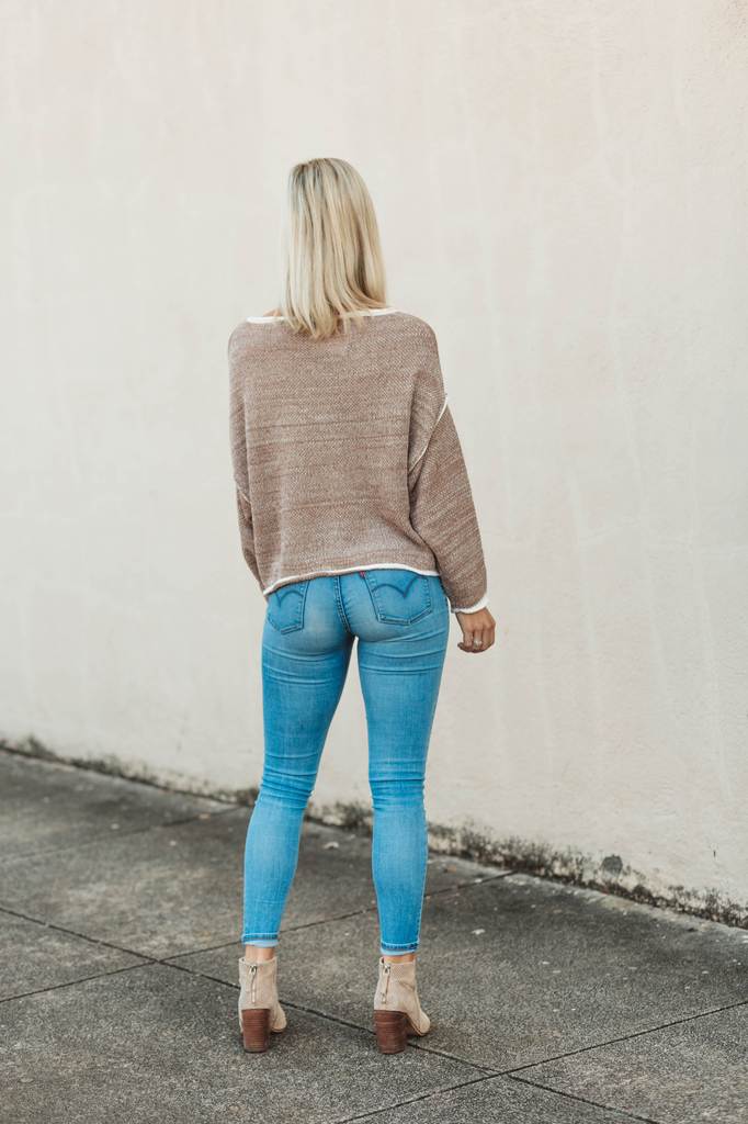 Soft Mixed Yarn Dolman Sweater with Rolled Hems