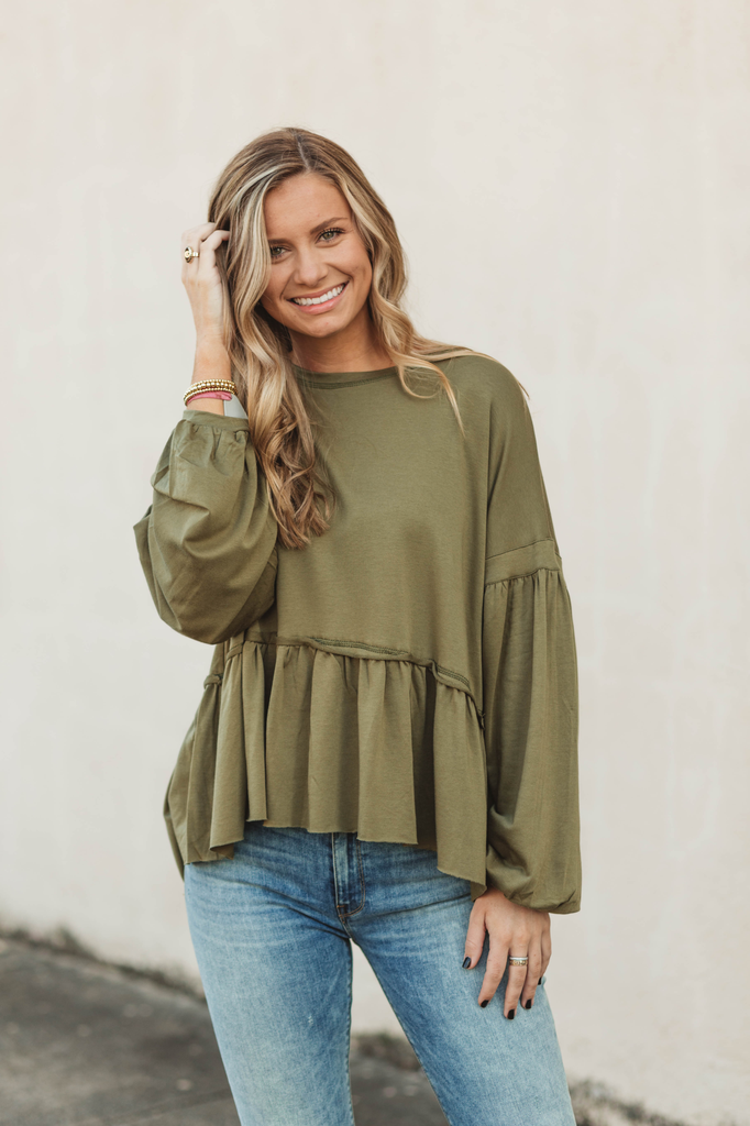 Karlie Solid Knit Ruffle Oversized Top