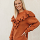 Glam Ruffle Front Sweater