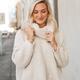 Ruffle Back Cowl Neck Sweater