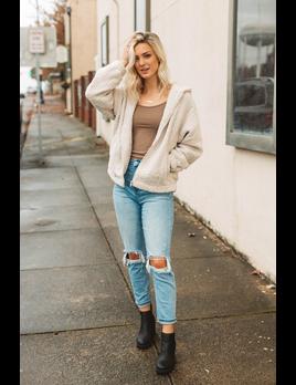 She & Sky Teddy Zip Up Sweater Jacket