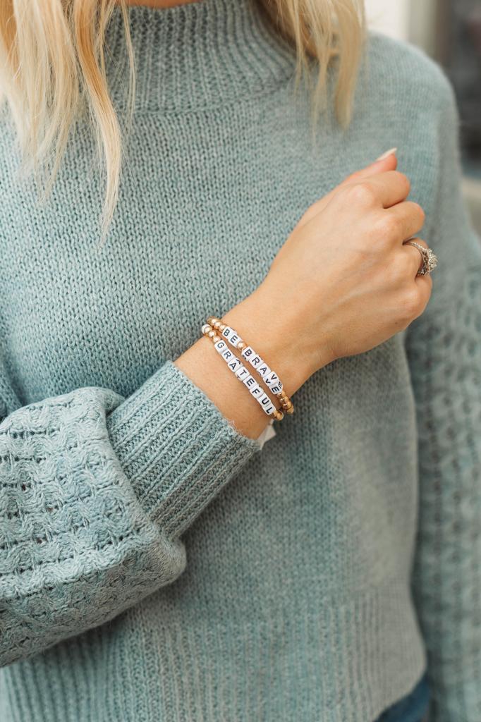 Be Brave Beaded Bracelet Gold