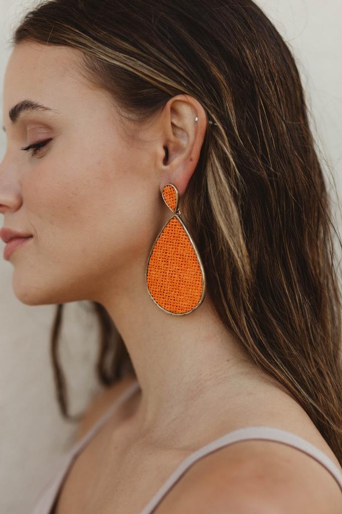 Woven Raffia Teardrop Earrings