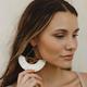 Wedge Leather Raffia Fan Earrings