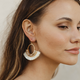Oval Bead Fan Tassel Earrings