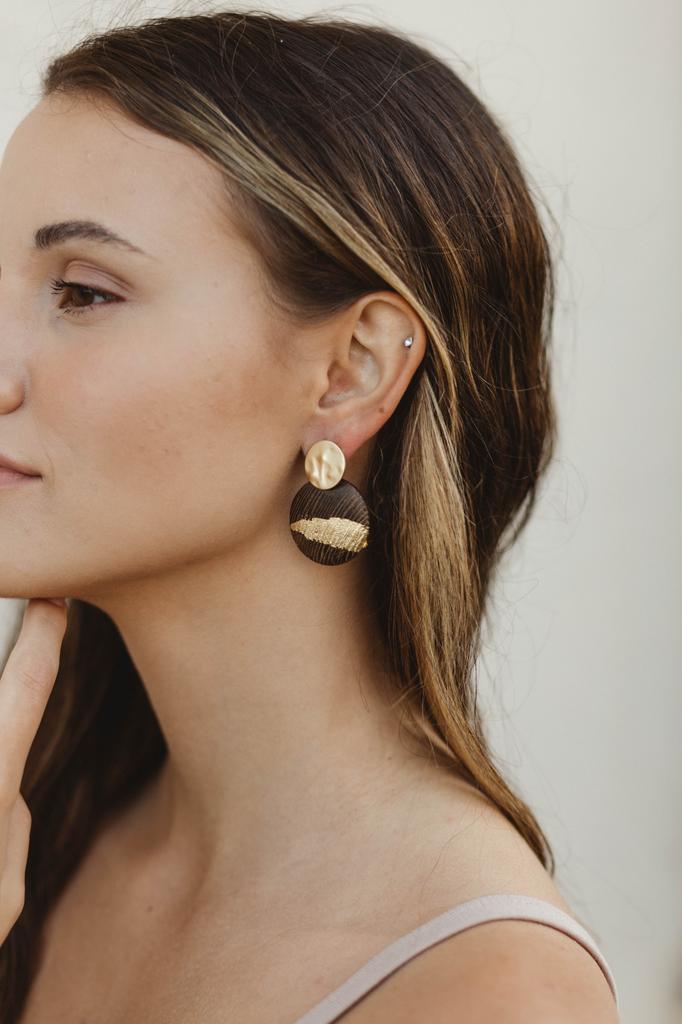 Disc and Wood Disc Earrings