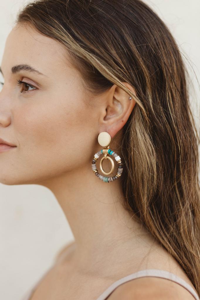 Multi Beads Door Knocker Earrings