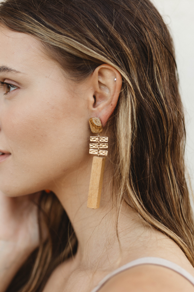 Square Stone and Wood Bar Earrings